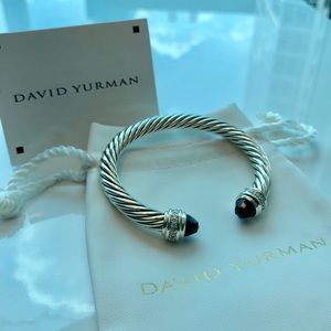 7f21477cb9 David Yurman Jewelry - David Yurman 7mm Cable Bracelet Black Onyx Diamond